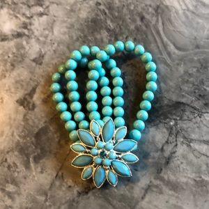 Three strand faux gem & stone bracelet
